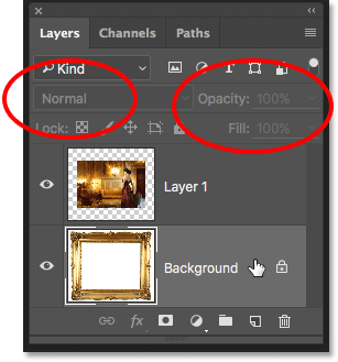 The Blend Mode, Opacity and Fill options are unavailable with the Background layer. Image © 2016 Photoshop Essentials.com