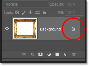 The lock icon on the Background layer in the Layers panel in Photoshop. Image © 2016 Photoshop Essentials.com