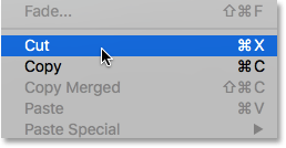 Selecting Cut from the Edit menu in Photoshop. Image © 2016 Photoshop Essentials.com