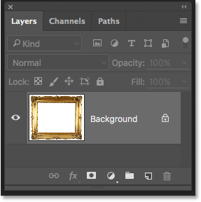 The Background layer in the Layers panel in Photoshop.