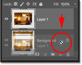 Trying to drag Layer 1 below the Background layer in the Layers panel. Image © 2016 Photoshop Essentials.com