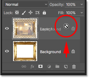 Trying to drag the Background layer above Layer 1 in the Layers panel. Image © 2016 Photoshop Essentials.com