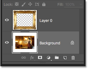 Layer 1 is now the Background layer in the document. Image © 2016 Photoshop Essentials.com