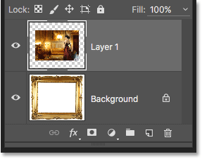 The Layers panel showing the photo added above the Background layer.