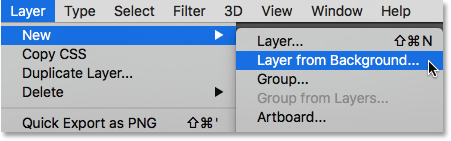The New Layer From Background command in Photoshop. Image © 2016 Photoshop Essentials.com