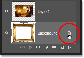 Clicking the lock icon on the Background layer. Image © 2016 Photoshop Essentials.com