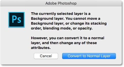 Photoshop Background layer warning. Image © 2016 Photoshop Essentials.com