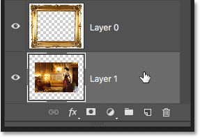 Selecting Layer 1 in the Layers panel.