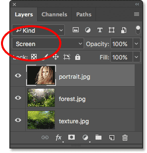 Changing the layer blend mode to Screen. Image © 2017 Photoshop Essentials.com