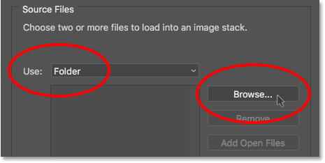 Setting the Use option to Folder, then clicking the Browse button. Image © 2017 Photoshop Essentials.com
