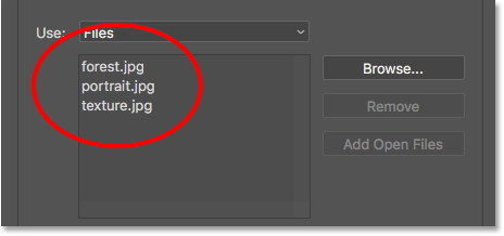 The Load Layers diaog box shows the names of the files you'll be opening. Image © 2017 Photoshop Essentials.com