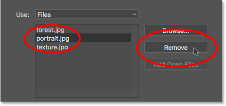 To remove a file, select it, then click Remove. Image © 2017 Photoshop Essentials.com