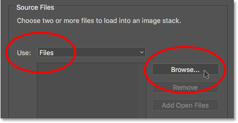 Changing the Use option to Files, then clicking the Browse button. Image © 2017 Photoshop Essentials.com