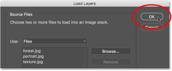 Clicking OK in the Load Layers dialog box. Image © 2017 Photoshop Essentials.com