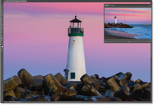 Photoshop zooms in on the area when you release your mouse button