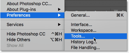 The Overscroll option is located in the Tools category of the Photoshop Preferences