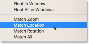 The Match Location option in Photoshop