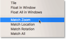 The Match Zoom command in Photoshop