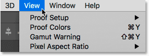 Opening the View menu in the Menu Bar in Photoshop.