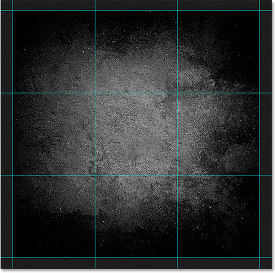 A standard 3 by 3 grid created with the New Guide Layout feature. Image © 2015 Steve Patterson, Photoshop Essentials.com