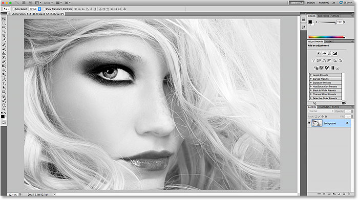 The lighter interface in Photoshop CS5.