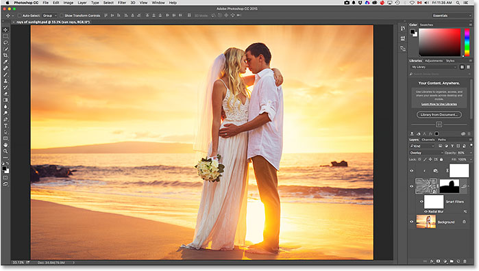 The image opens with the Essentials workspace. Image © 2015 Steve Patterson, Photoshop Essentials.com
