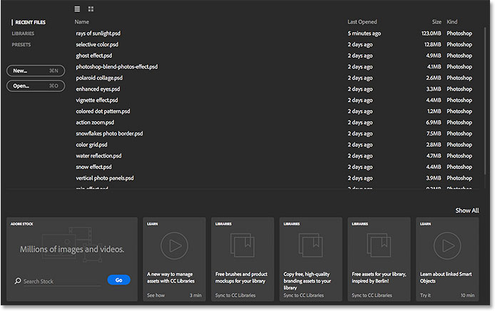 The new Start screen in Photoshop CC 2015. Image © 2015 Steve Patterson, Photoshop Essentials.com