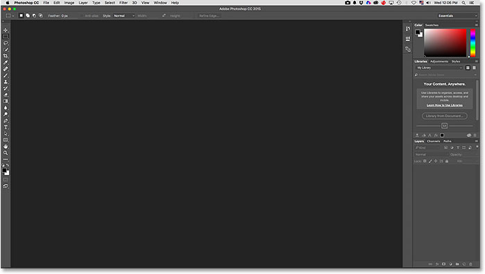 The traditional Essentials workspace in Photoshop.