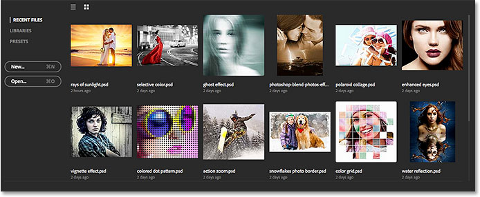 Selecting the RECENT FILES option. Image © 2015 Steve Patterson, Photoshop Essentials.com