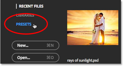 Selecting the Presets option in the Start screen. Image © 2015 Steve Patterson, Photoshop Essentials.com