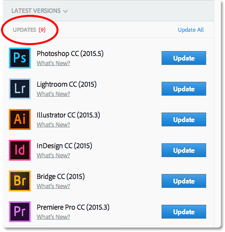 An Update button will appear beside any app with an update available for it. Image © 2016 Photoshop Essentials.com