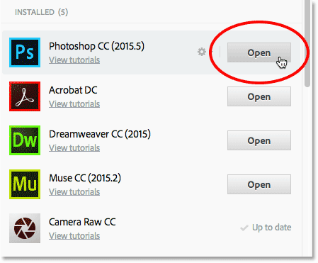 Clicking the Update button for Photoshop CC.