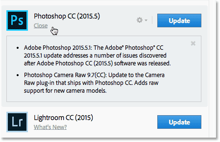 Viewing a description of the update for Photoshop CC.