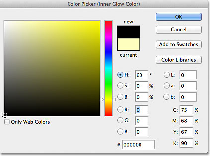 Choosing black from the Color Picker in Photoshop. Image © 2012 Photoshop Essentials.com