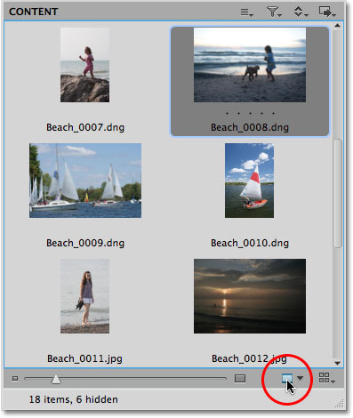 The Preview icon in Mini Bridge in Photoshop CS5. Image © 2010 Steve Patterson, Photoshop Essentials.com
