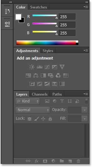 The panels in the Essentials workspace in Photoshop CS6.