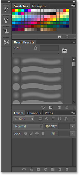 The main panels in the Painting workspace in Photoshop CS6. Image © 2013 Steve Patterson, Photoshop Essentials.com