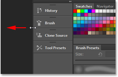 Resizing the secondary panel column in Photoshop CS6. Image © 2013 Steve Patterson, Photoshop Essentials.com