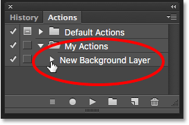 The Actions panel showing just the name of the new action. Image © 2016 Photoshop Essentials.com