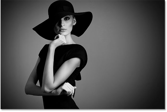 A black and white fashion portrait. Image 57490606 licensed from Adobe Stock by Photoshop Essentials.com