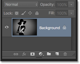The Layers panel after reverting the image to its original state. Image © 2016 Photoshop Essentials.com