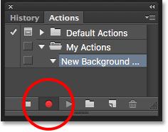 Clicking the Record button. Image © 2016 Photoshop Essentials.com