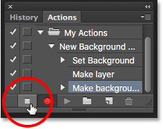 Clicking the Stop icon to stop recording the action. Image © 2016 Photoshop Essentials.com