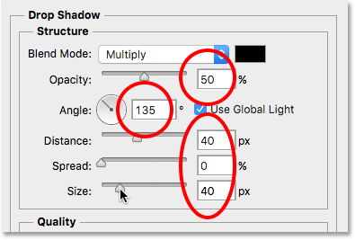 The Drop Shadow options in the Layer Style dialog box. Image © 2016 Photoshop Essentials.com