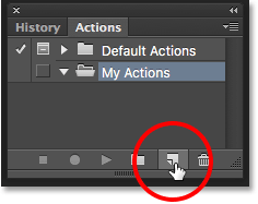 Clicking the New Action icon in the Actions panel. Image © 2016 Photoshop Essentials.com