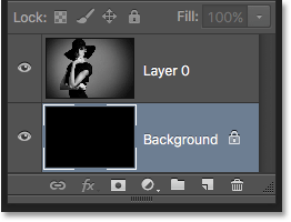 The Layers panel after playing the action with the Background color set to black. Image © 2016 Photoshop Essentials.com