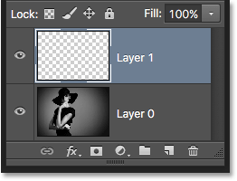 The Layers panel showing the new blank layer. Image © 2016 Photoshop Essentials.com