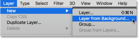 Selecting the New Layer from Background command. Image © 2016 Photoshop Essentials.com