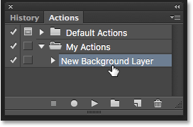 Selecting the New Background Layer action. Image © 2016 Photoshop Essentials.com