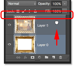 Dragging Layer 0 above Layer 1 in the Layers panel. Image © 2016 Photoshop Essentials.com